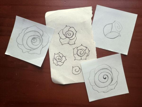 rose logo doodles
