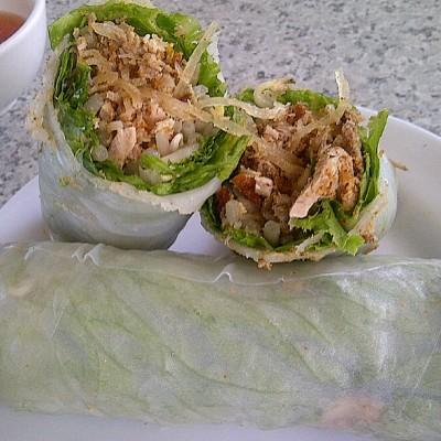 Shredded pork spring rolls at Saigon
