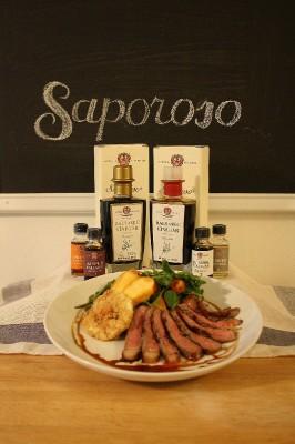 Grilled Ribeye and Peach Summer salad Saporoso's Signature 8yr aged Balsamic Vinegar