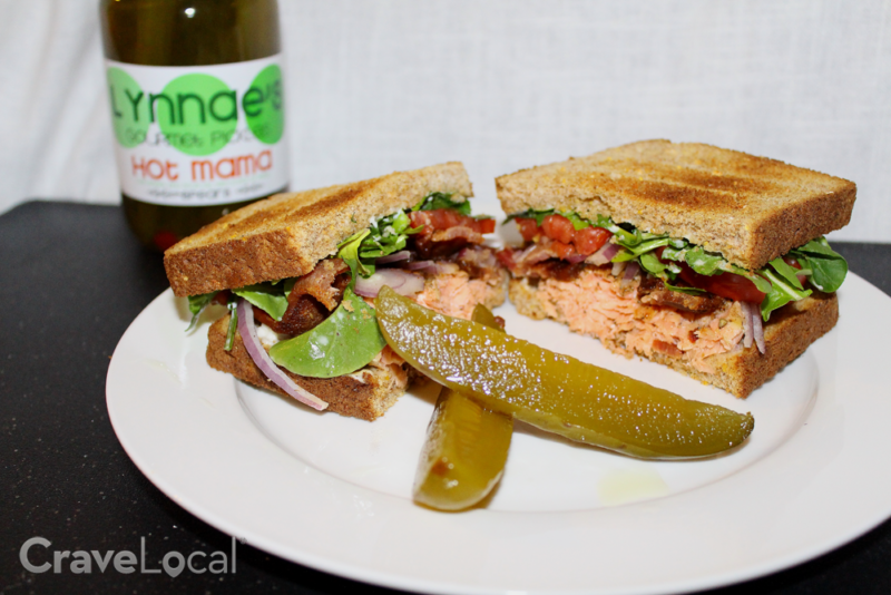 salmon sandwich recipe with Lynnae's Gourmet Pickles