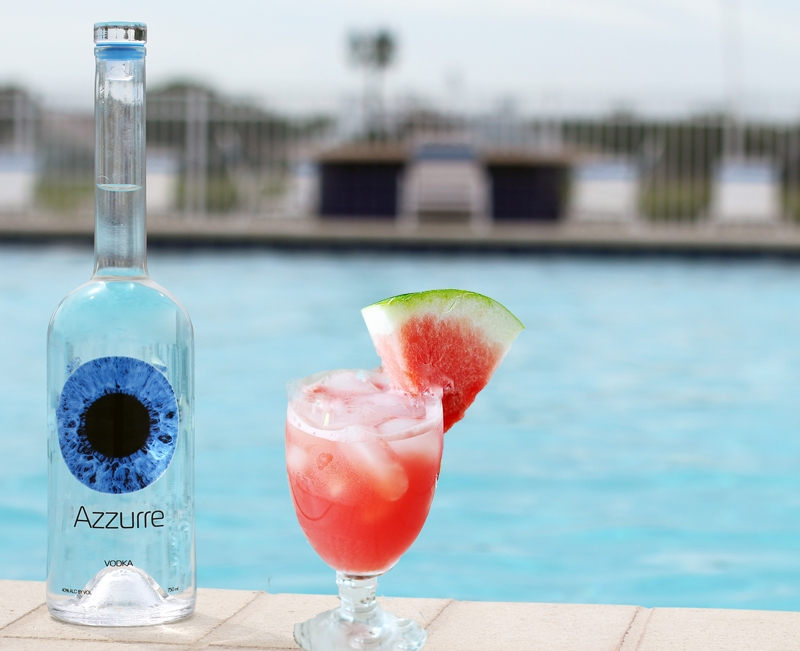 Azzurre Spirits by the pool w melon cocktail