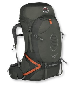 LL Bean Osprey Atmos 65 backpack for trails