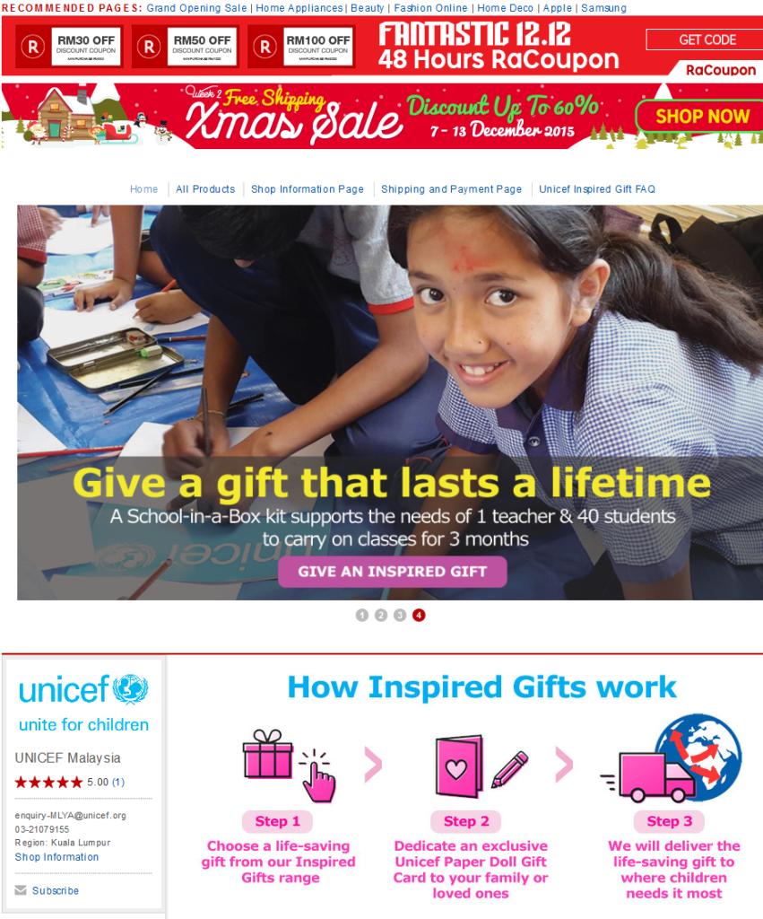 Rakuten ushers in holiday cheer with UNICEF Inspired Gift store 3