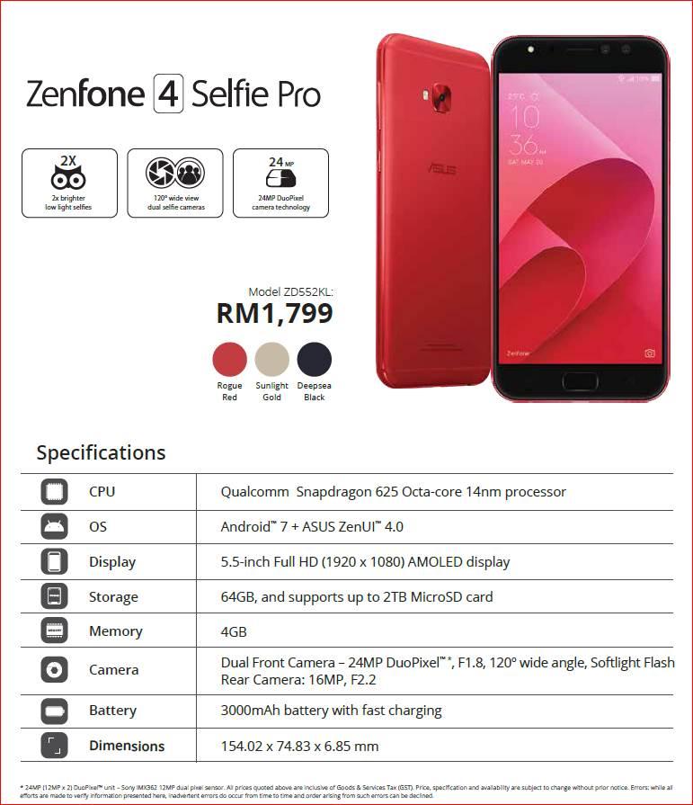 Zenfone 4 Selfie Pro specs