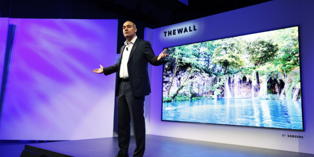 Samsung's new 146-inch 'The Wall' MicroLED TV at CES 2018 has a name that matches its size 25