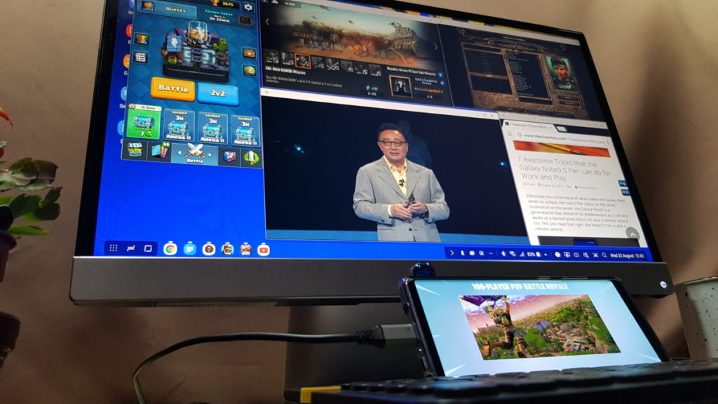 The Galaxy Note9 has a unique DeX mode that fires up a desktop interface by mere provision of a HDMI cable and a monitor.