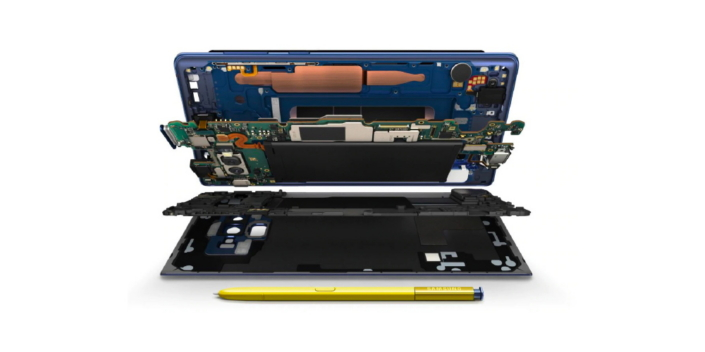 No Galaxy Note9s were harmed in creating this schematic. The Water Carbon Cooling system is the copper colour section. Image: Samsung