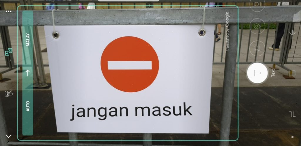 The same sign translated into Bahasa by Bixby