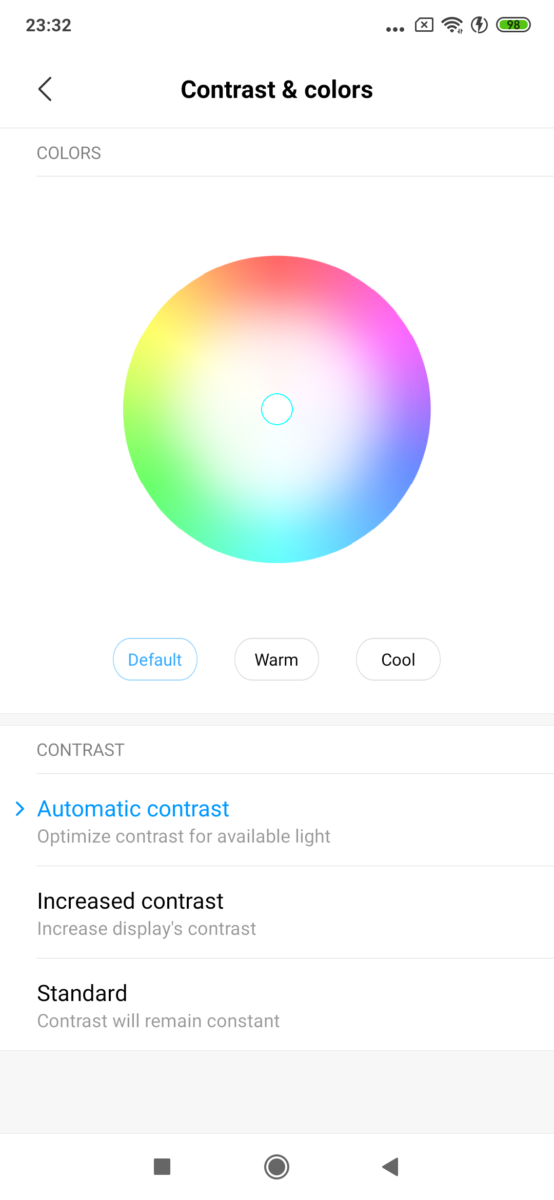 mi 9T colour correction display