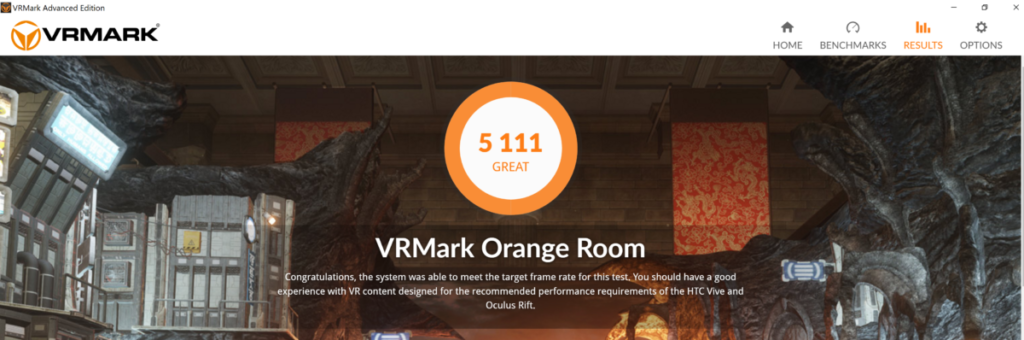 Alienware M17 orange room VR
