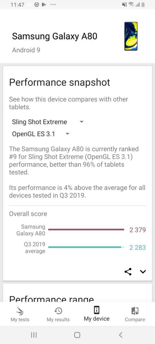 Galaxy A80 3D Mark