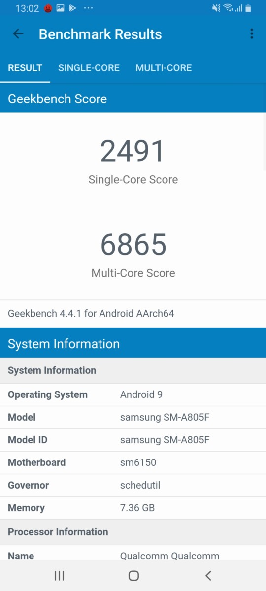 Galaxy A80 geekbench compiled