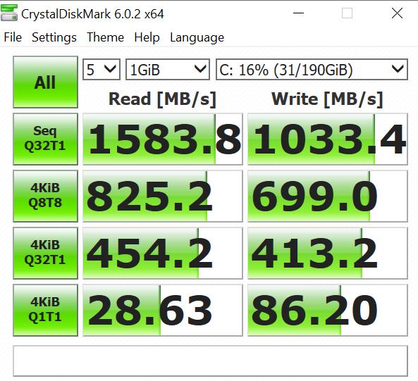 Asus ExpertBook P5440FA crystal disk mark