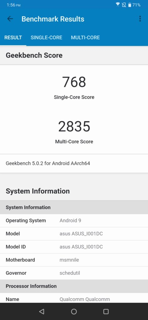 ROG Phone 2 Geekbench Performance mode off