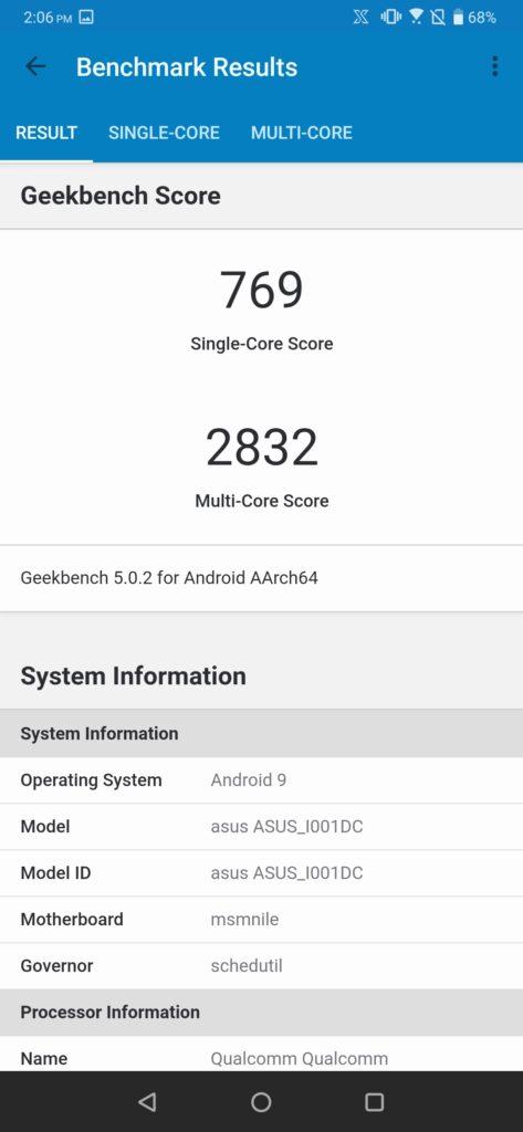 ROG Phone 2 Geekbench Performance mode on