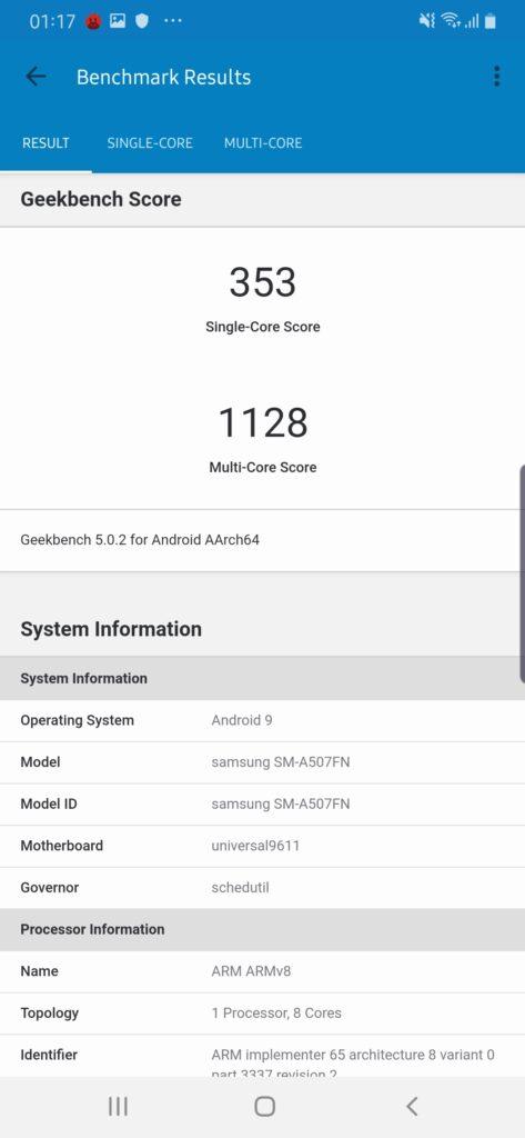 Galaxy A50s Geekbench 5.0