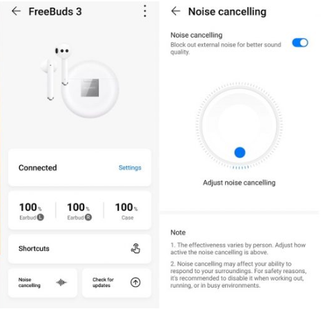 Huawei FreeBuds 3 UI