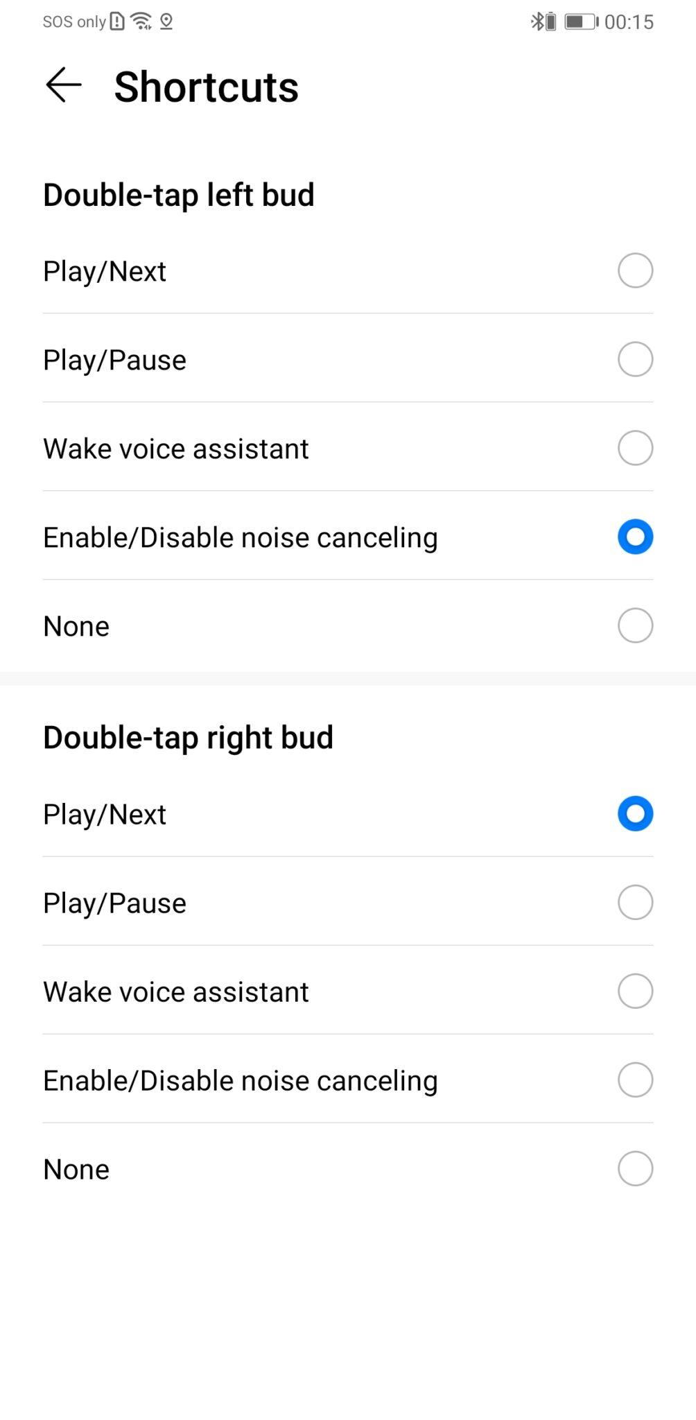 Huawei FreeBuds 3 menu controls