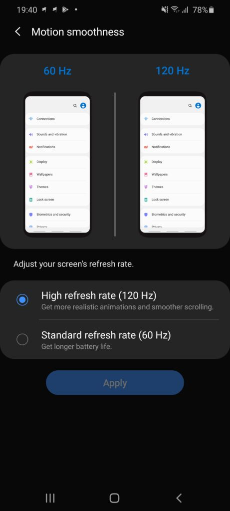 Galaxy S20 Ultra refresh rate