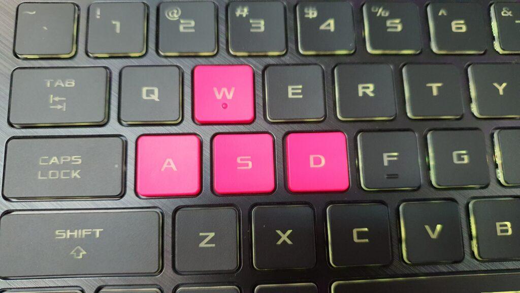 ROG Strix G15 Electro Punk WASD keyboard