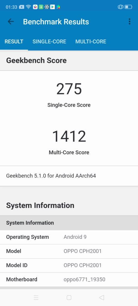 OPPO A91 geekbench 5
