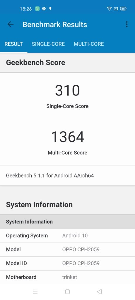 OPPO A92 review geekbench