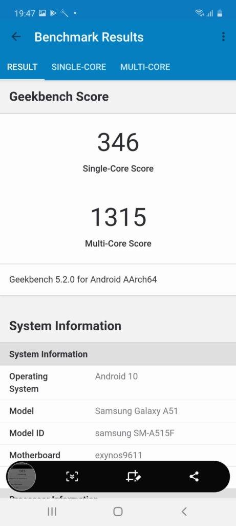 Samsung Galaxy A51 geekbench 5