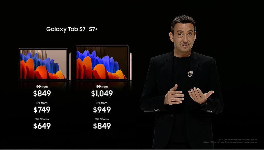 Galaxy Tab S7 price