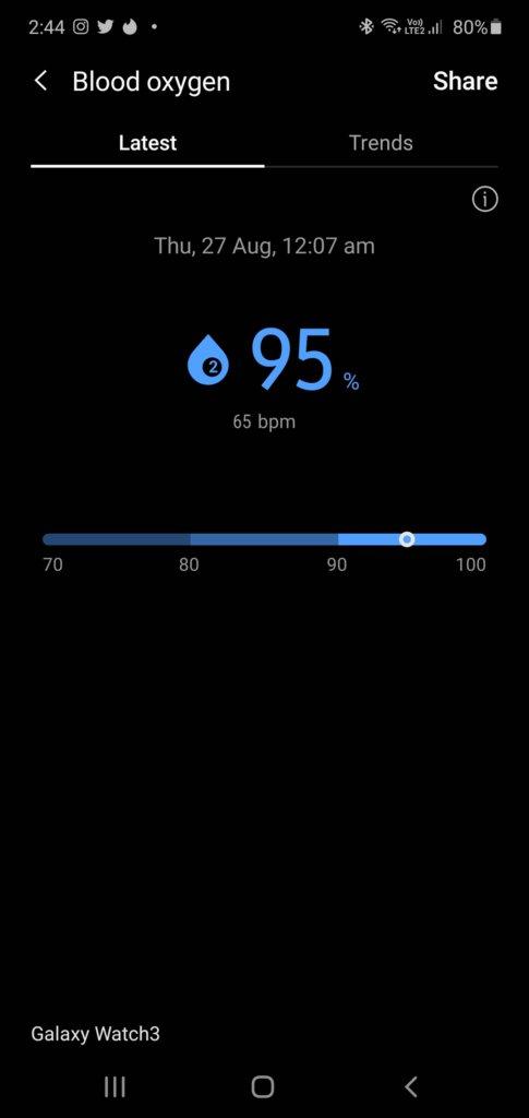 gaaxy watch3 blood oxygen