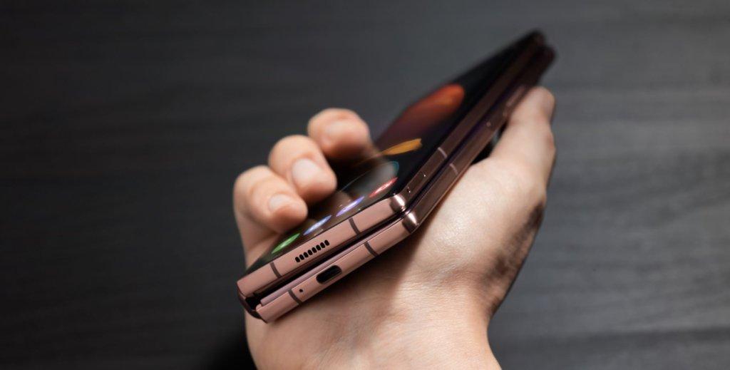 Samsung Galaxy Z Fold2  side look closeup