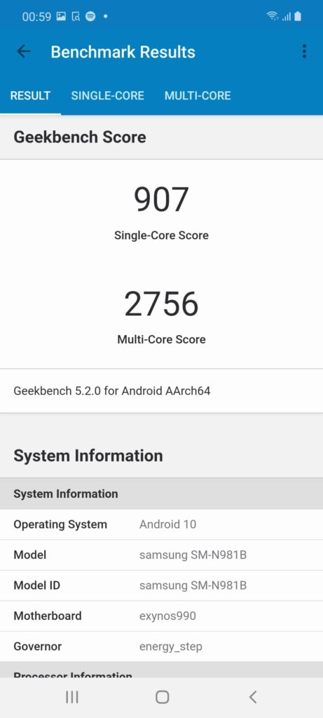 Samsung Galaxy Note20 5G Review geekbench