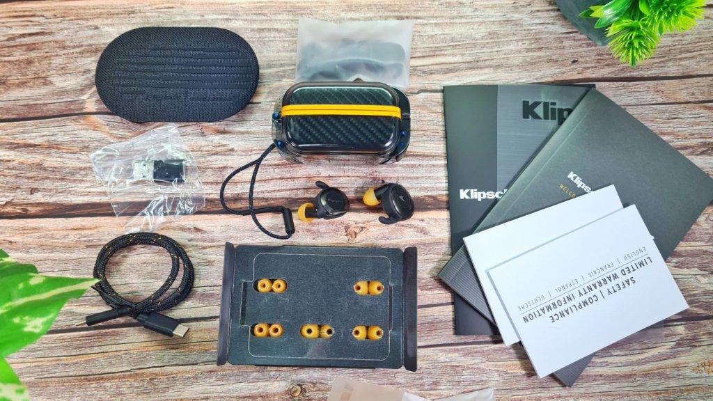 Klipsch T5 II True Wireless Sport McLaren Edition review box contents