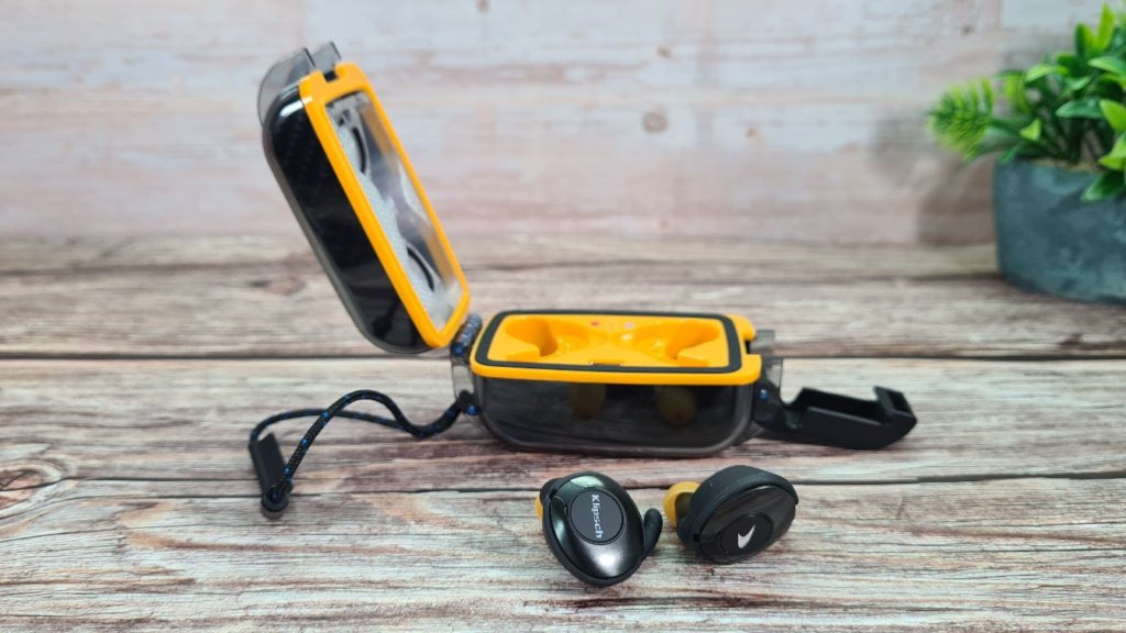 Klipsch T5 II True Wireless Sport McLaren Edition review side view