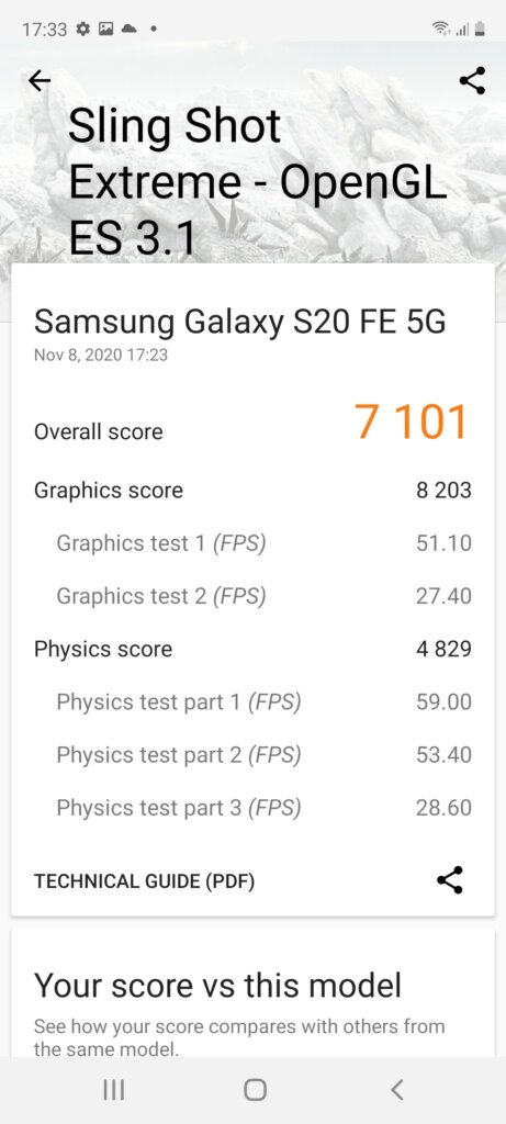 Samsung Galaxy S20 FE 5G Review 3dmark