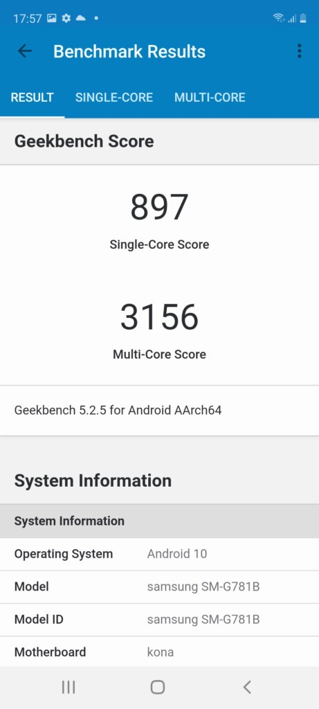Samsung Galaxy S20 FE 5G Review geekbench