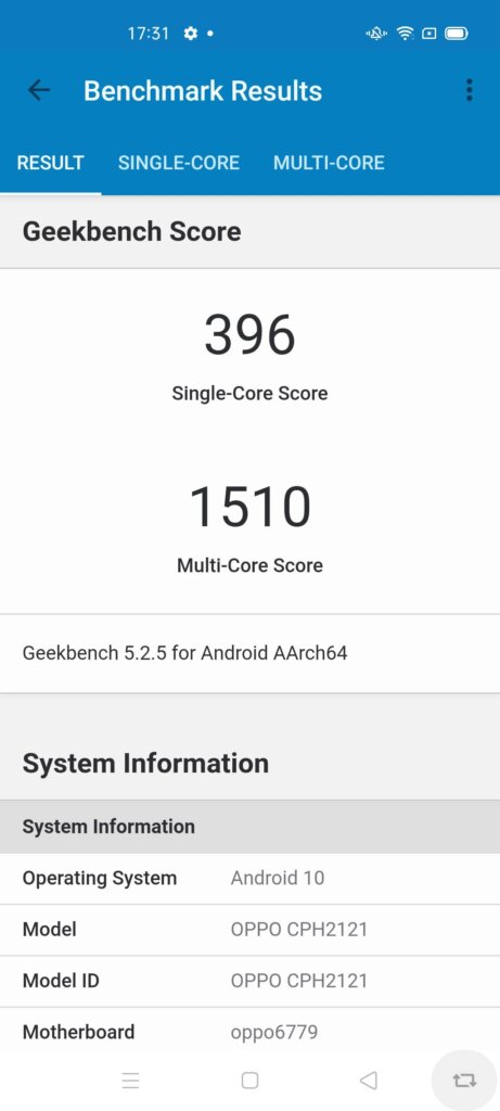 Oppo A93 Review geekbench 5
