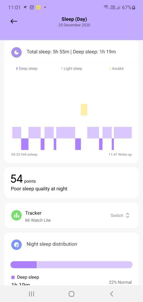Xiaomi Mi Watch Lite Review sleep