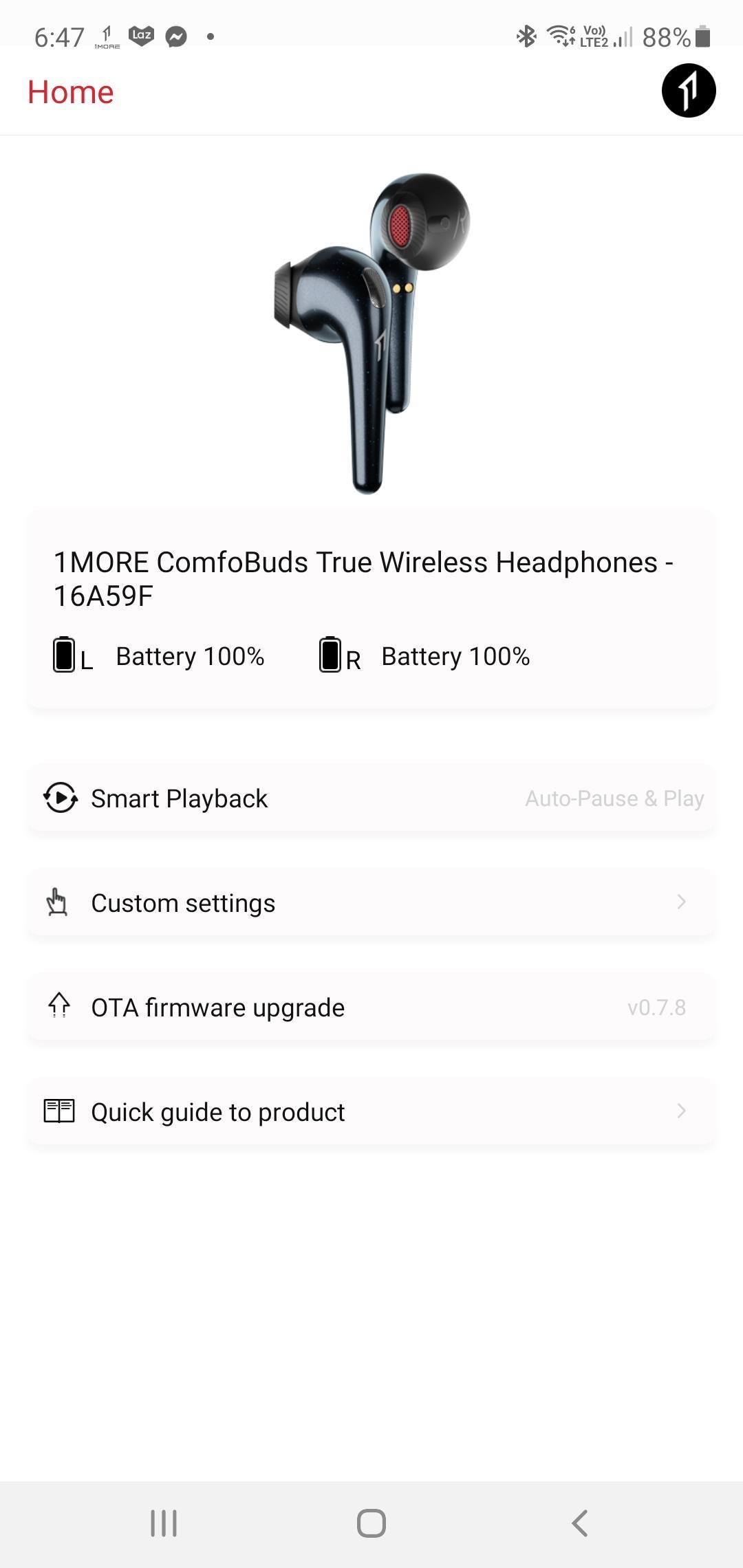 1More ComfoBuds menu options
