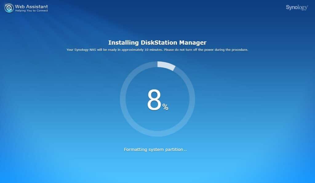 Synology DiskStation DS220j  formatting