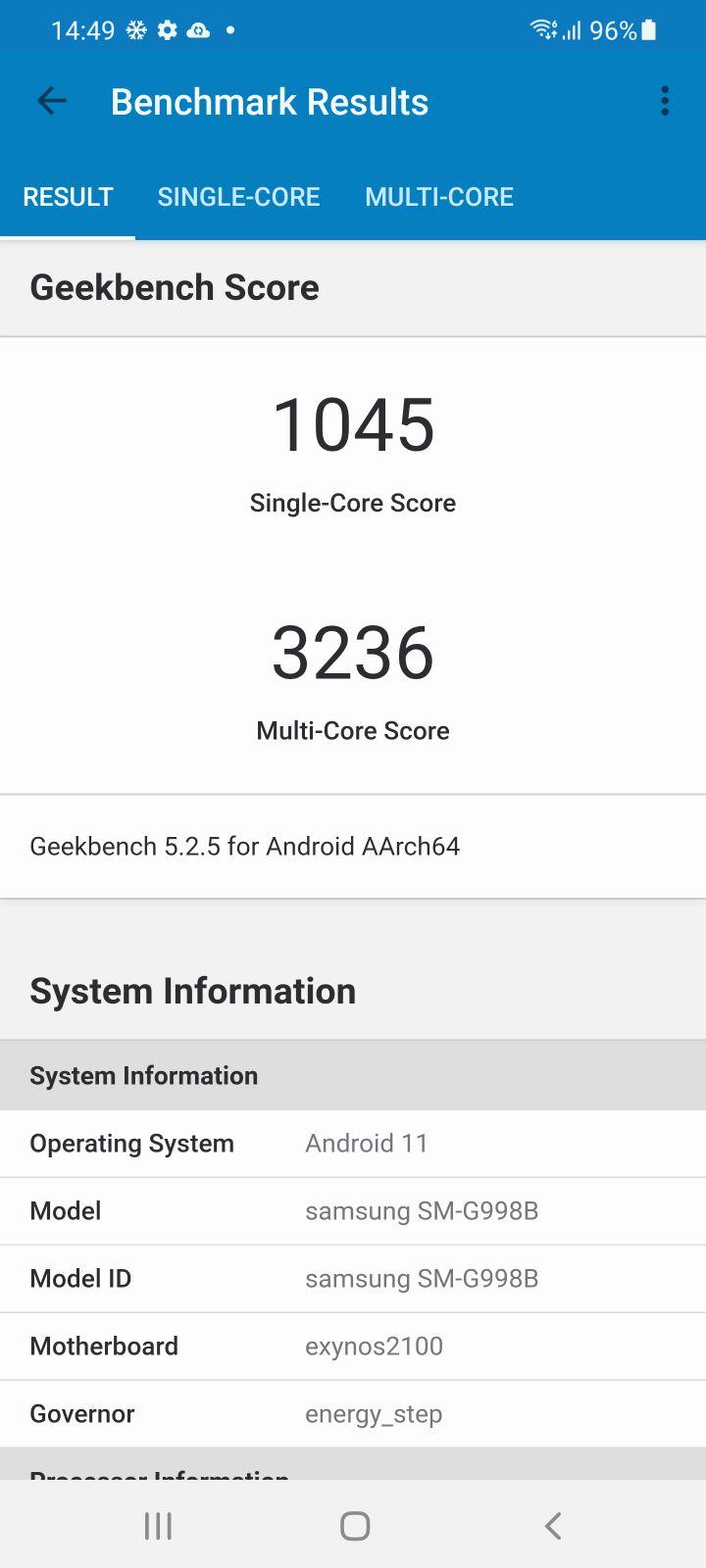 Samsung Galaxy S21 Ultra 5G Review geekbench 2