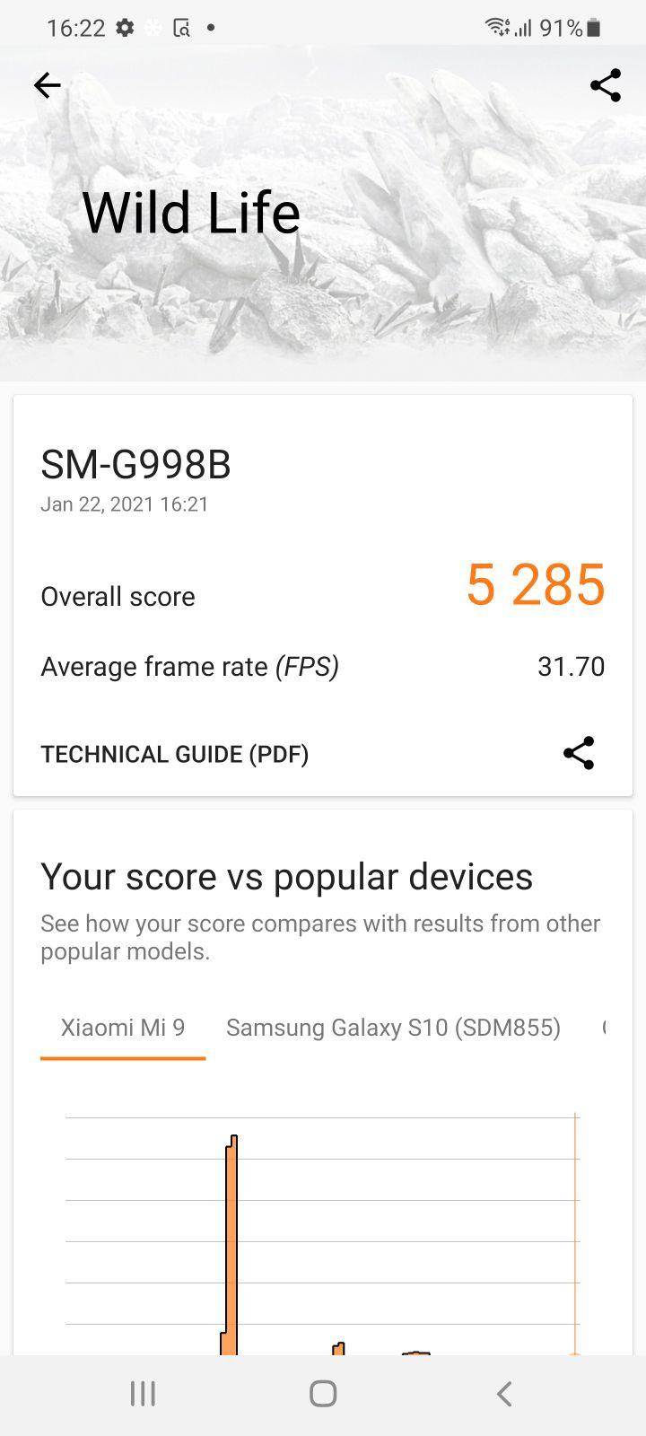 3d mark Samsung Galaxy S21 Ultra 5G Review wild life