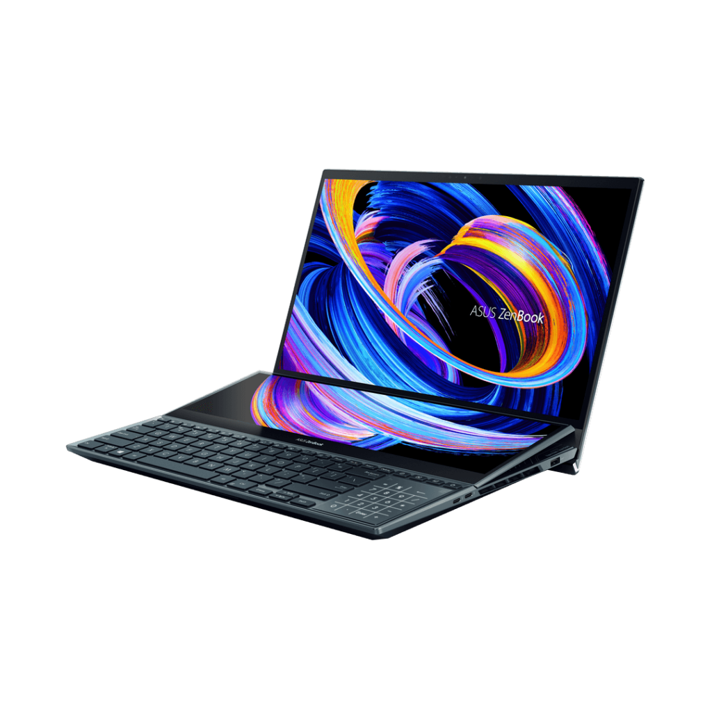 ASUS ZenBook Pro Duo 15 OLED UX582 angled