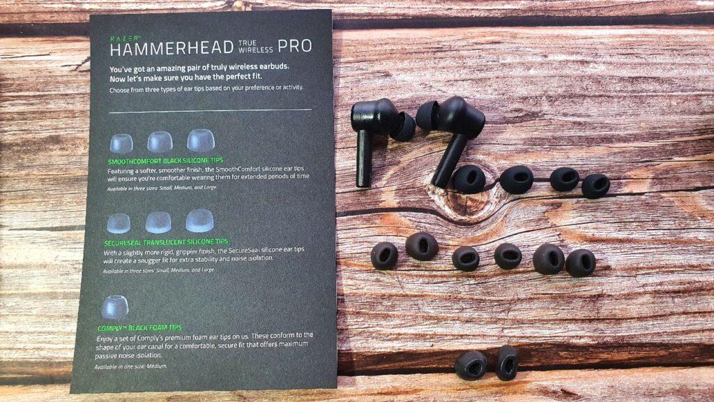 Razer Hammerhead True Wireless Pro ear tip selection