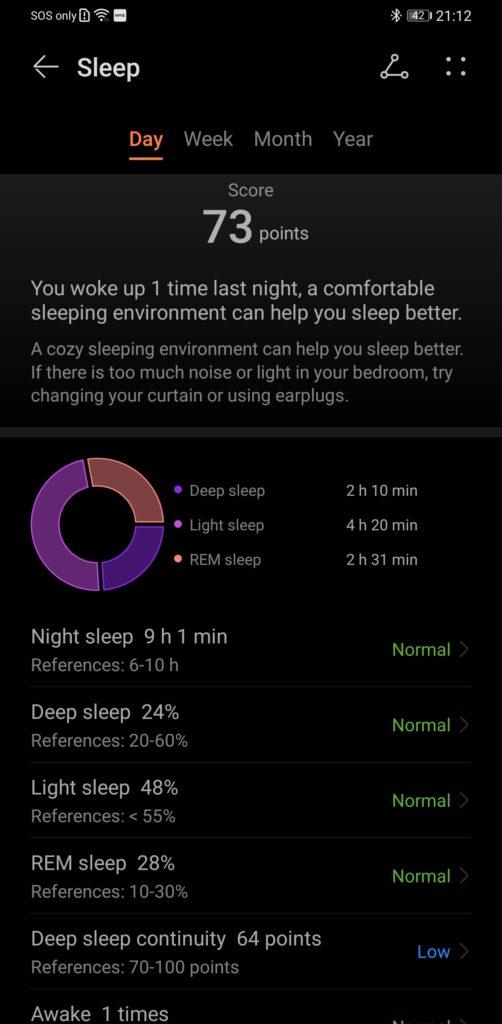 Huawei Band 6 Review sleep overall