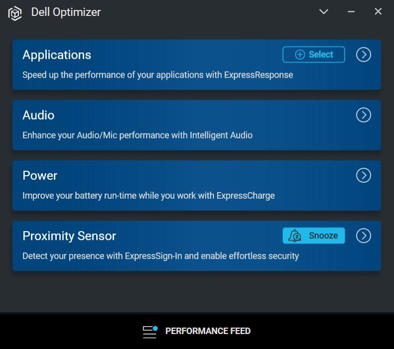 Dell Latitude 7320 2-in-1 Review  Dell Optimizer main menu