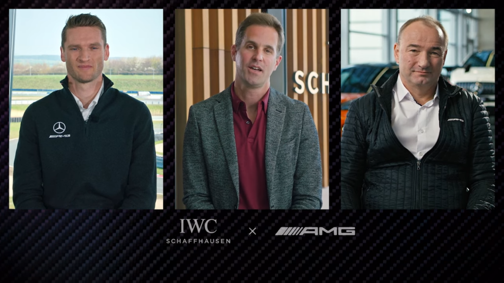 Christoph Grainger-Herr, IWC CEO and Philipp Scheiemer, Mercedes-AMG CEO as well as Maro Engel, shared brand ambassador and racing driver.