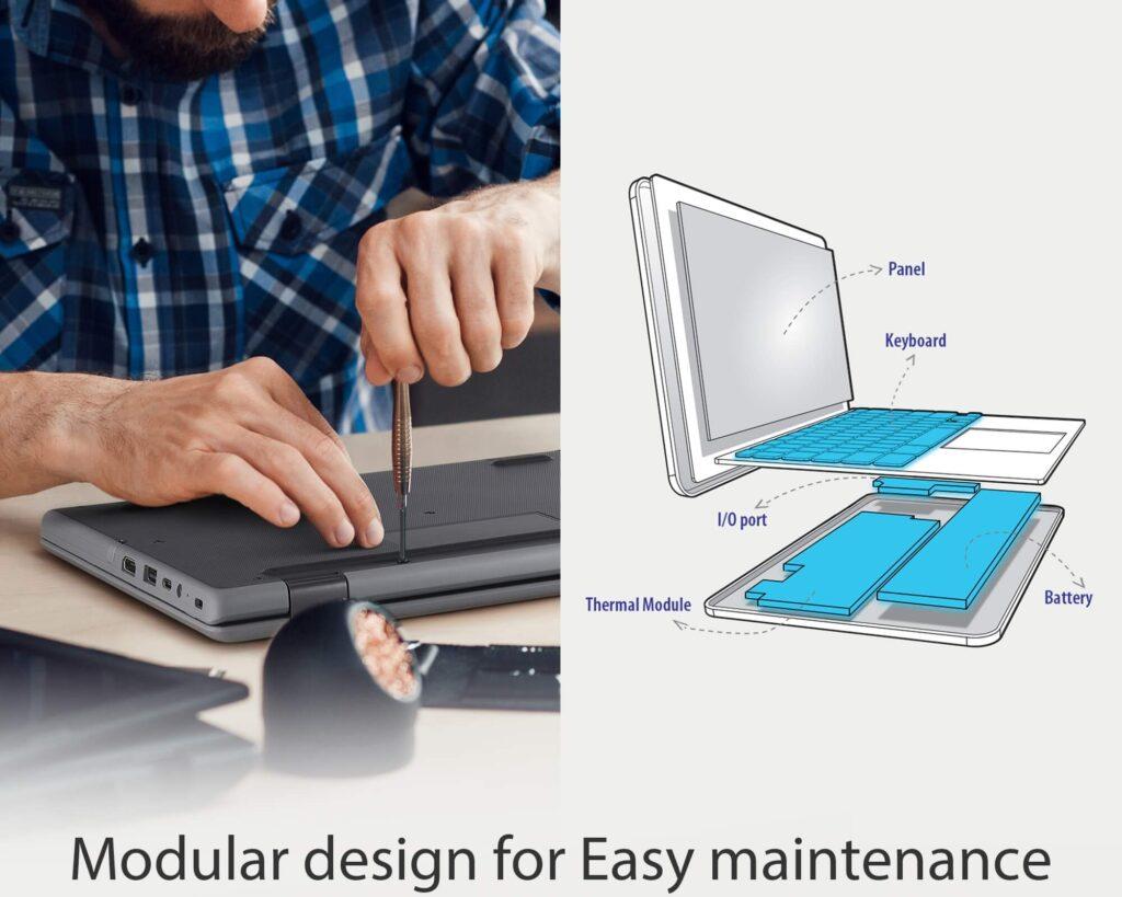 ASUS BR1100F student laptop modular design