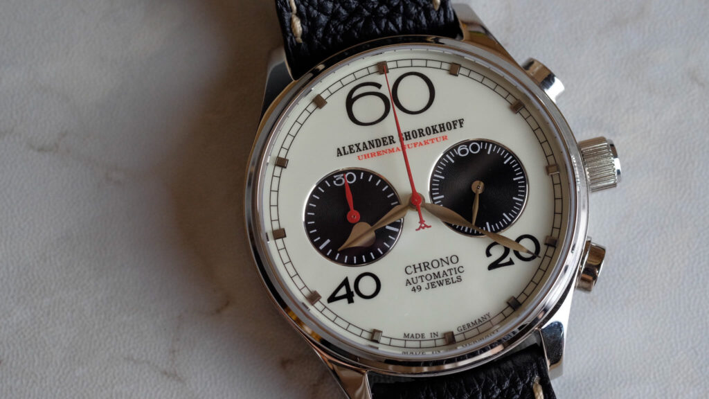 The Timeless Father's Day Gift Guide alexander shorokhoff chronograph cream black subdial