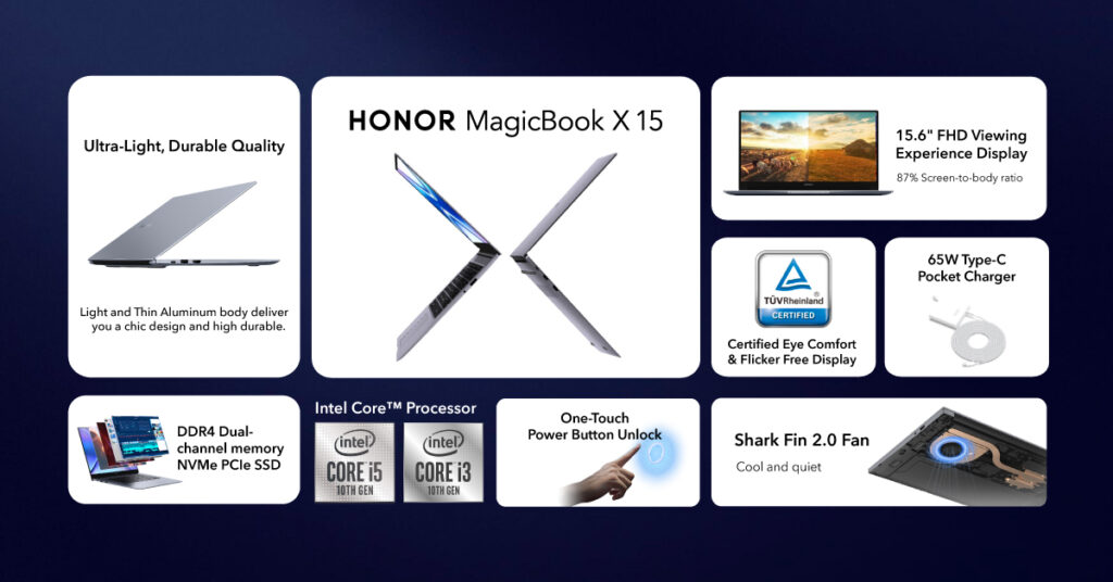 HONOR MagicBook X 15 laptop specs