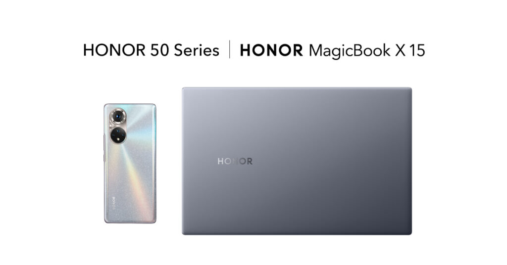 HONOR MagicBook X 15 laptop with phone